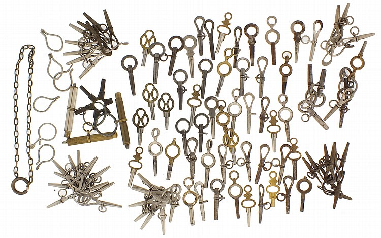 75 watch keys, mostly 19th century, including three self adjusting keys