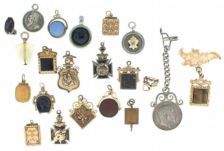 Watch fobs- 22 (Twenty two), gold filled and silver, including masonic, a number set with semi precious stones, and others