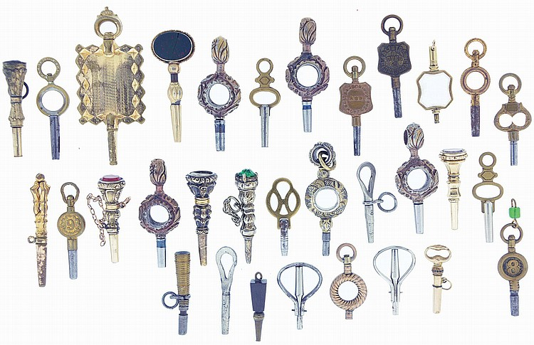 Watch keys- 30 (Thirty), gold filled, brass and steel, including some ornamental examples set with faceted stones, three tipsy keys, together with two incomplete keys, 19th century