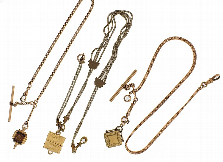 Watch chains- 15 (Fifteen), most are gold filled, various link styles, some with attached fobs, 8- 30