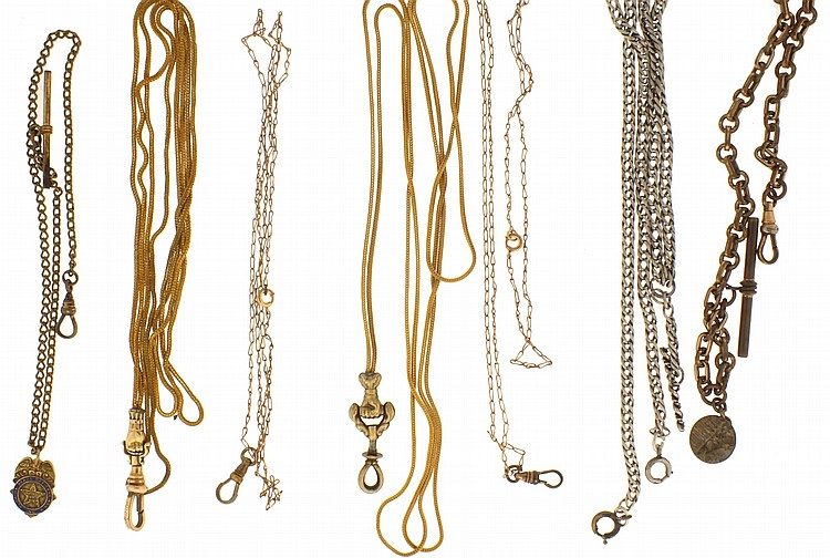 Watch chains- 20 (Twenty), various links and styles, silver and gold filled, 19th- 20th century, 7- 24
