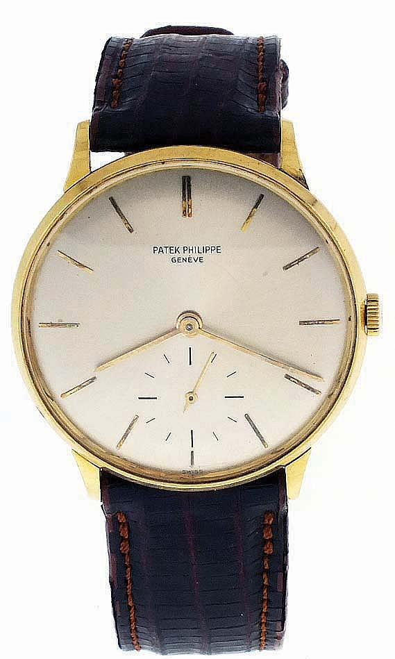 Patek, Philippe & Cie., Geneva, Switzerland, man's ref. 3420 wrist watch, cal.27- 400 AM, 18 jewels, manual winding, adjusted to 5 positions and isochronism, cotes de Geneve decorated nickel plate movement with lever escapement and freesprung Gyromax