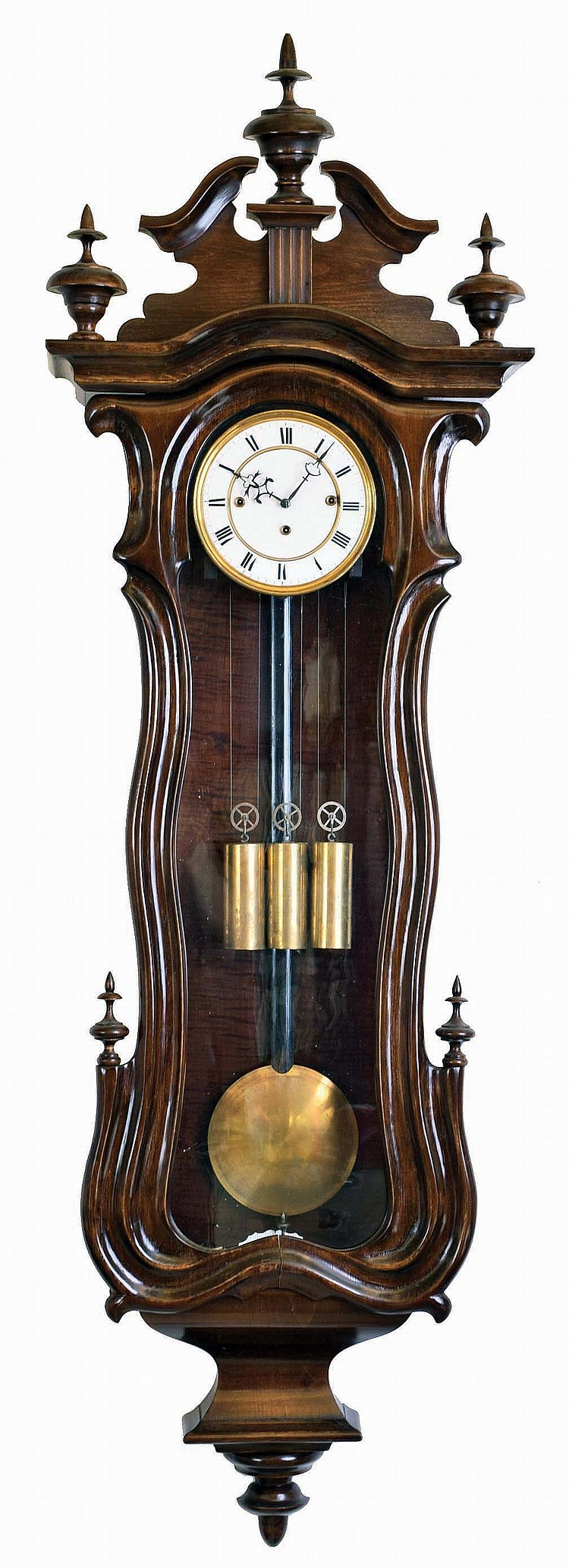 Vienna Regulator unsigned 8 day 3 weight quarter striking walnut wall clock
