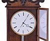 Austria, hanging regulator in the Biedermeier style, six light rosewood veneered case with contrasting banding and carved top trim, one piece Roman numeral porcelain enamel dial with fine cast & gilt bezel, finely cut blued steel hands, 8 day