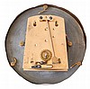 Rudolf Mayer, Germany, miniature Vienna style hanging regulator, cast brass ornamental case front attached to a wooden case with silvered beat scale, arch top with finial, back of top signed