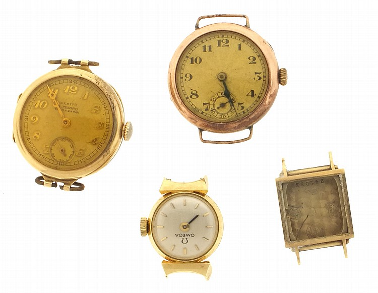 Wrist watches- 4 (Four), all lady's, including an Omega in an 18 karat yellow gold case, a Zenith with 14 karat rose gold case, a Girard Perregaux 14 karat yellow gold case only, and one Swiss with 9 karat yellow gold case, 9k, 13.2g TW, 14k, 19.2g