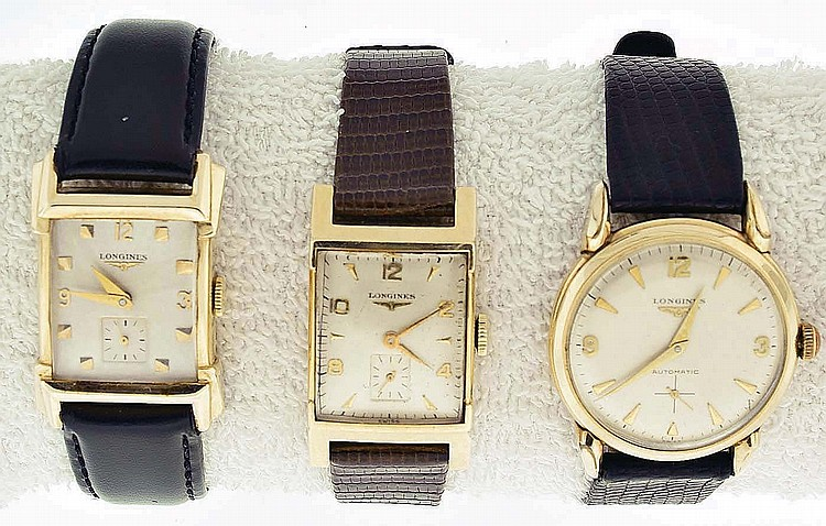 Wrist watches- 3 (Three): All Longines, the first with 17 jewel manual movement, Arabic numeral and square marker metal dial, 14 karat gold case with fancy lugs, serial #9076263, the second with 17 jewel manual movement, Arabic numeral and arrow