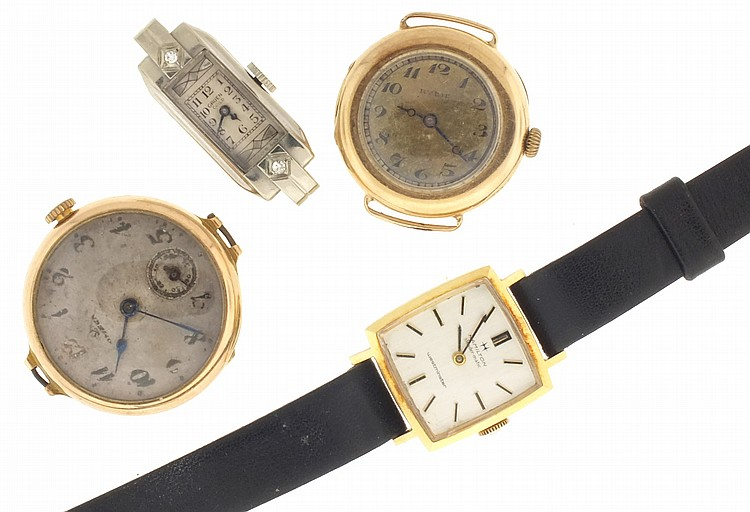 Wrist watches- 4 (Four), the first Swiss for Ryrie Bros., Arabic numeral metal dial, 15 jewel nickel movement, 14 karat yellow gold case with wire lugs, 16g TW, the next an Omega, 15 jewel gilt movement, Arabic numeral metal dial, 14 karat yellow