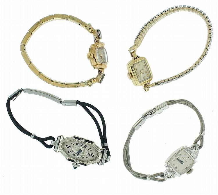 Wrist watches- 4 (Four), lady's 14 karat white and yellow gold, one with eight tiny diamonds, two Hamilton, one Bulova, and one Swiss, 48.6g TW