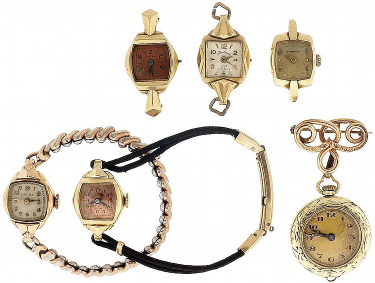 Wrist watches- 5 (Five) and a pendant watch with pin, all lady's, with 14 karat gold cases, 62.4g TW