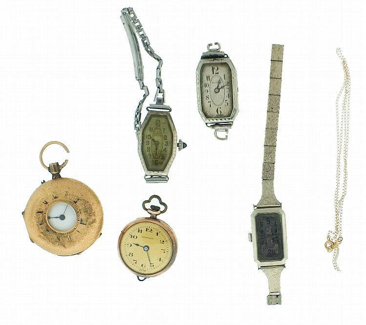 Wrist and pocket watches- 5 (Five), all lady's, and a fine chain, one 9 karat gold, 13.1g TW, one 20 karat gold, 11.6g TW, one 18 karat gold, 14.3g TW, and two 14 karat gold, 37.7g TW