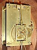 Daniel Hubbard, Woonsocket Falls, Rhode Island, 8 day, weight brass Patent or Banjo wall timepiece. Dial is numbered