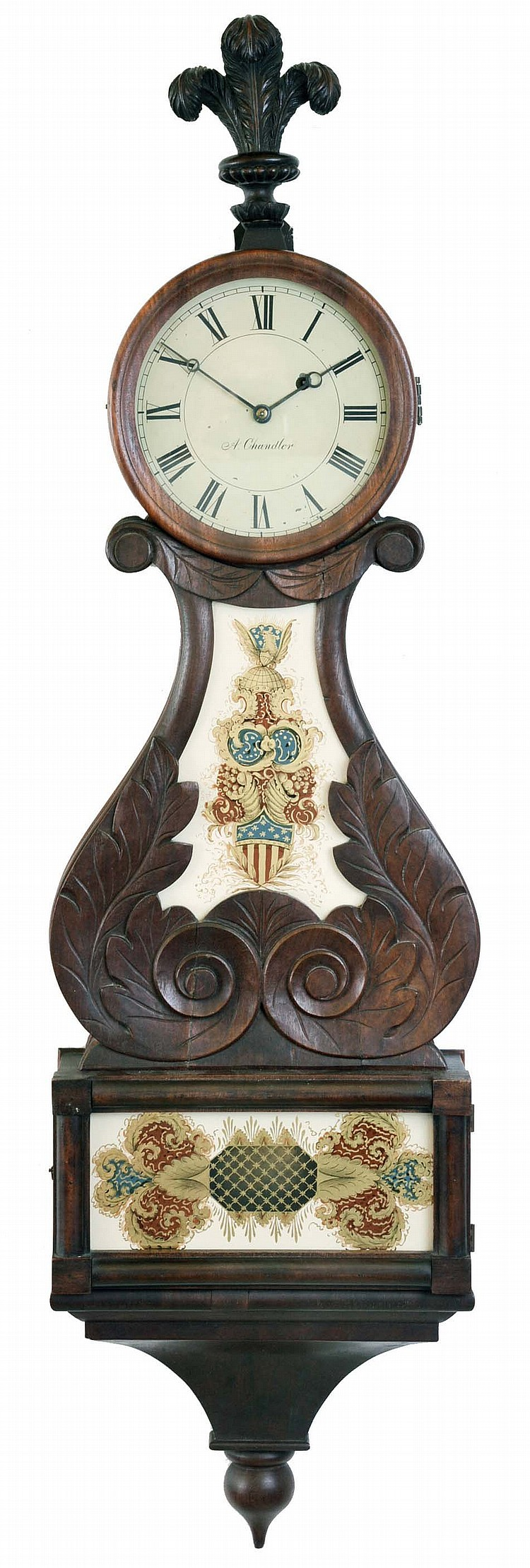 Lyre clock, carved mahogany case with reverse painted glasses, case bottom with incurved bracket and turned drop, and top with carved Prince of Wales feather finial, Roman numeral painted dial signed