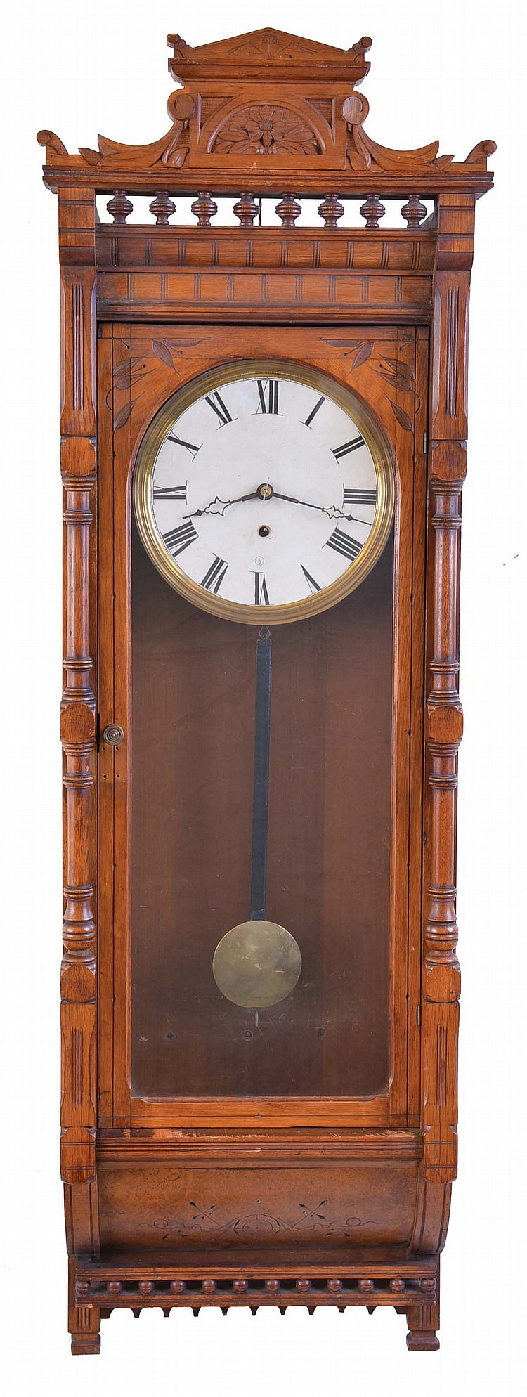 George B. Owen, Winsted, Conn., wall clock, 8 day, time only, spring driven movement in a walnut case with arcaded top and papered metal dial