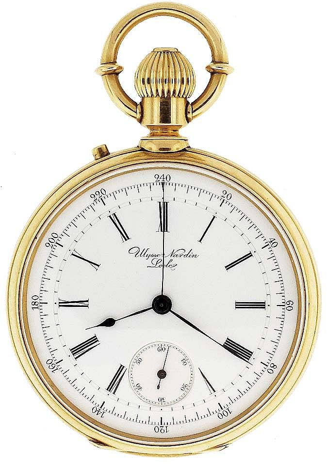 Ulysse Nardin, Le Locle, Switzerland, for Savage, Lyman & Co., Montreal, man's gold chronograph pocket watch with box, 20 jewels, stem wind and pin set cotes de Geneve decorated nickel plate movement with counterpoised lever escapement, cut