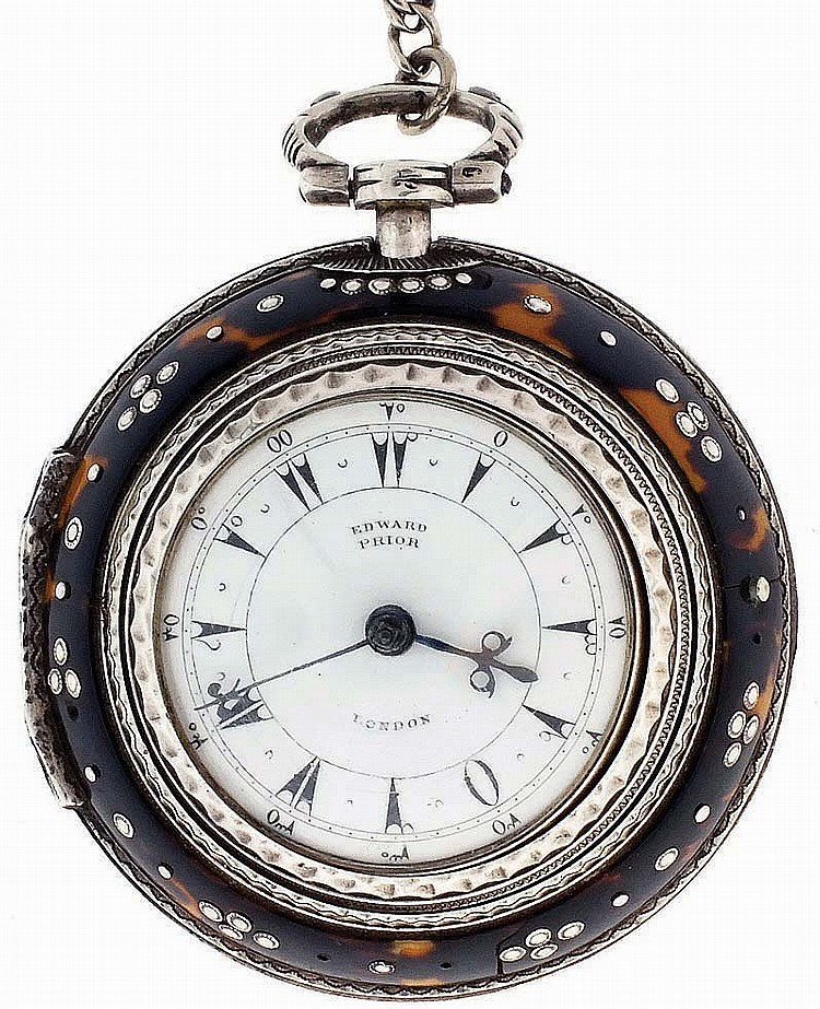 Edward Prior, London, England, quadruple cased verge fusee pocket watch for the Turkish market, key wind and set, gilt, full plate movement with pierced and engraved balance cock, regulator plate, and pillars, the balance cock with diamond endstone,