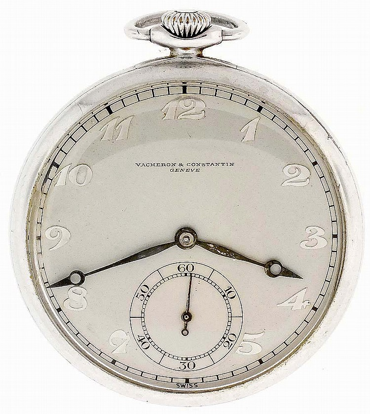 Vacheron & Constantin, Geneva, Switzerland, man's aluminum pocket watch, 18 jewels, stem wind and set, adjusted to 5 positions and temperature cotes de Geneve decorated aluminum bar movement with lever escapement, cut bimetallic balance and gold