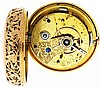 George Brinkman, London, mans quarter repeating pocket watch with duplex escapement, 11 jewels, key wind and set, gilt full plate fusee movement with diamond endstone, gold three arm balance and gold escape wheel in an 18 karat rose gold, open face
