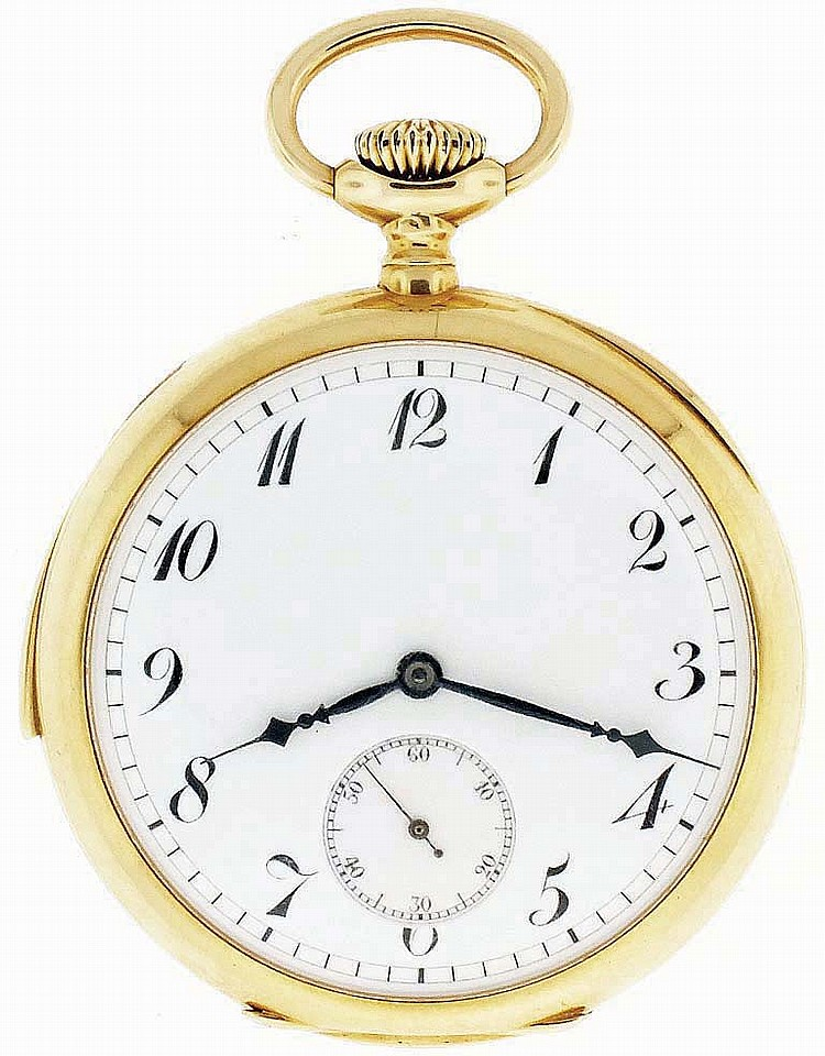 Touchon & Co., Switzerland, man's gold minute repeating pocket watch, 27 jewels, stem wind and set, adjusted, cotes de Geneve decorated nickel bar movement with lever escapement, cut bimetallic balance, gold timing screws and whiplash micrometric