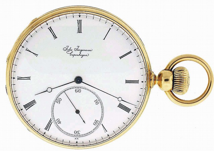 Jules Jurgensen, Copenhagen, pocket chronometer, 20 jewels stem wind and key set, cotes de Geneve decorated gilt bar movement with pivoted detent escapement, cut bimetallic balance, gold timing screws and gold endstone settings in an 18 karat, yellow