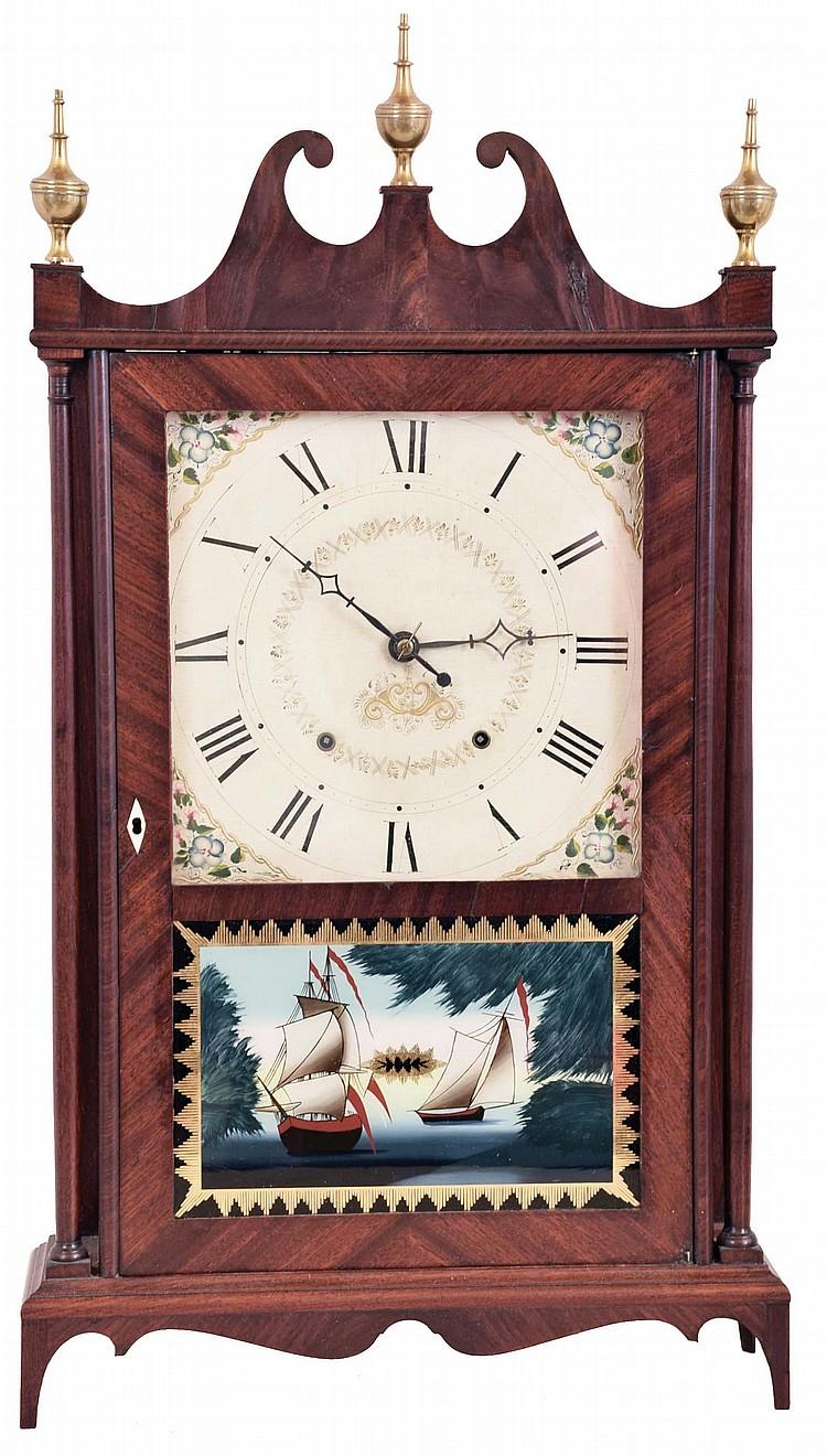 Seth Thomas Clock Co., Plymouth Hollow, Conn., 30 hour, time and strike weight wood movement pillar & scroll shelf clock.