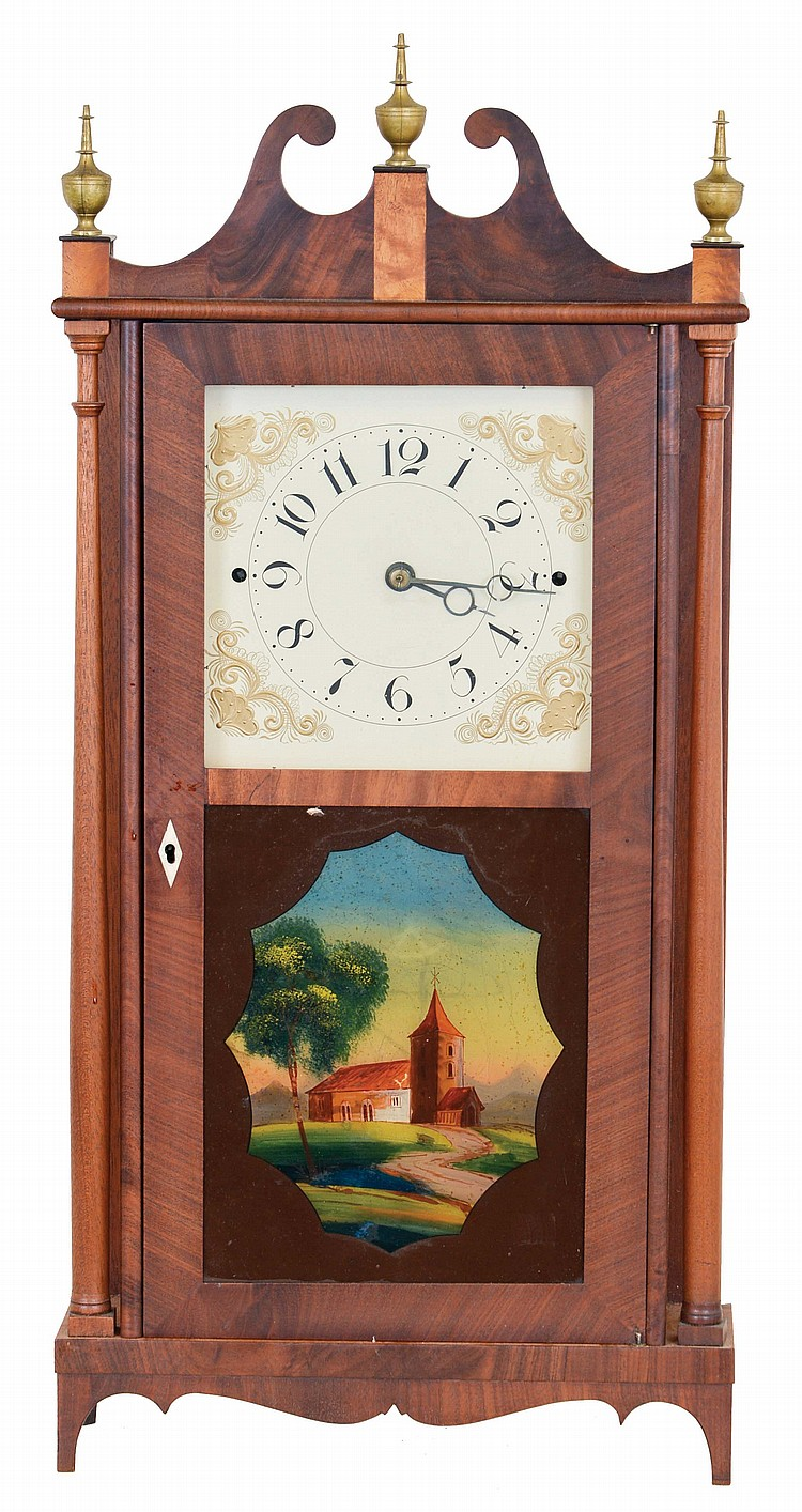 Norris North, Torrington, Conn., 30 hour, time and strike weight wood movement narrow case pillar & scroll shelf clock.