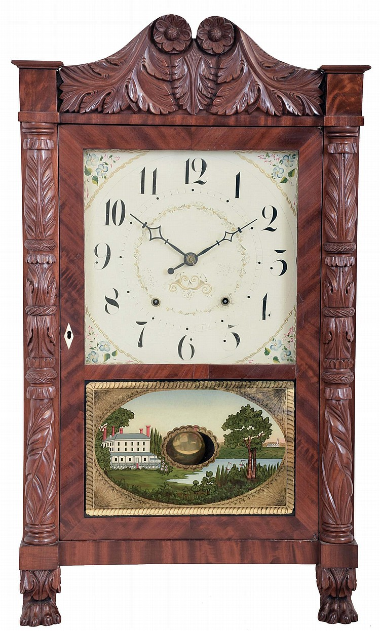 Seth Thomas Clock Co., Plymouth Hollow, Conn., Carved Column & Splat shelf clock with a weight driven 30 hour time and strike wooden works movement in a mahogany case.