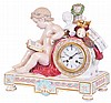 France, Figural mantel clock, Meissen porcelain case with a seated putto, bust, wreath, mandolin, palette, and other items symbolizing the arts, Roman numeral white enamel dial, blued steel hands, 8 day time and strike pendule a Paris movement with
