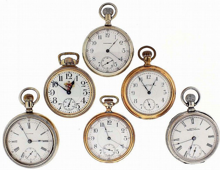 Pocket watches- 6 (Six), all Waltham, 16 and 18 size, 7- 21 jewel nickel and gilt movements with white enamel dials, coin silver, nickel, and gold filled open face cases