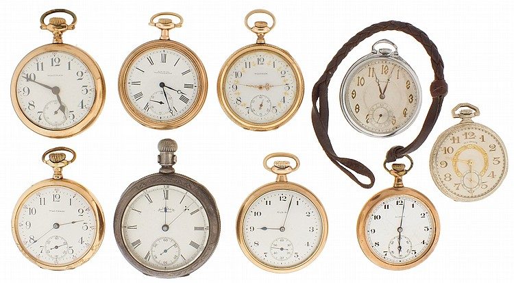 Pocket watches- 9 (Nine), makers including Illinois, Waltham, and Elgin, 18- 12 size, 7- 19 jewels, white enamel dials, one with O'Hara style dial, coin silver, gold filled and nickel open face cases