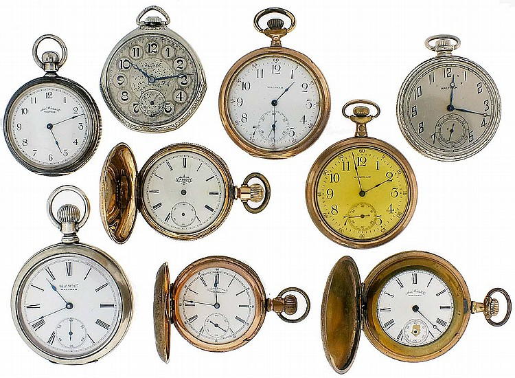 Pocket watches- 9 (Nine), 18, 12 and 6 size, Waltham, Elgin, and U.S. Watch Co. of Waltham, 7- 17 jewel gilt and nickel movements, white enamel and metal dials, coin silver and gold filled open face and hunting cases