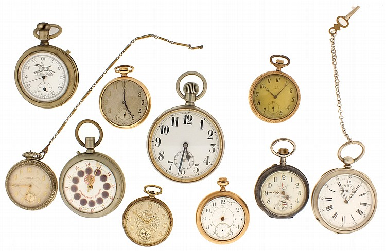Pocket watches- 10 (Ten), all Swiss, including an oversized pocket watch, pocket watch with alarm, one with niello case, a Gruen with gold filled case, a Roskopf, an Omega with gold filled case, and others