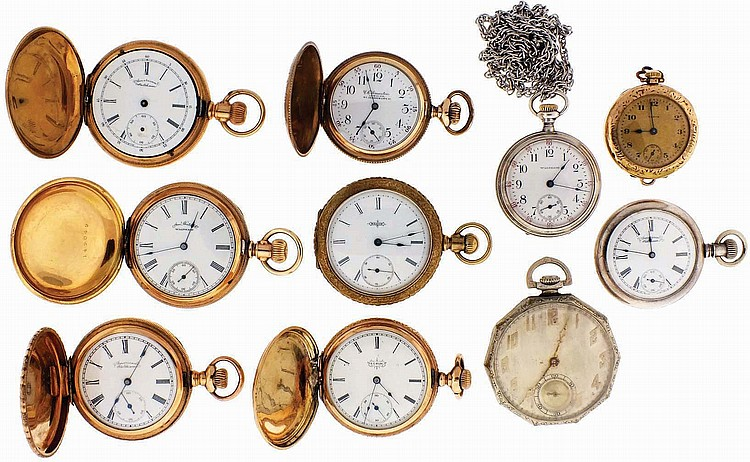 Pocket watches- 10 (Ten), 12- 3 / 0 size, 7- 19 jewels, by South Bend, Waltham and Elgin, enamel and metal dials, sterling silver and gold filled hunting and open face cases