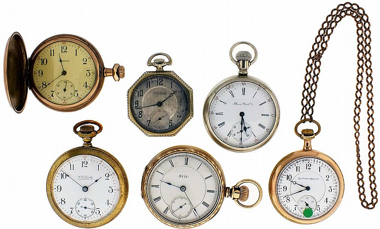 Pocket watches- 6 (Six), 18- 12 size Illinois, 11- 21 jewel nickel movements, white enamel and metal dials, nickel and gold filled open face cases