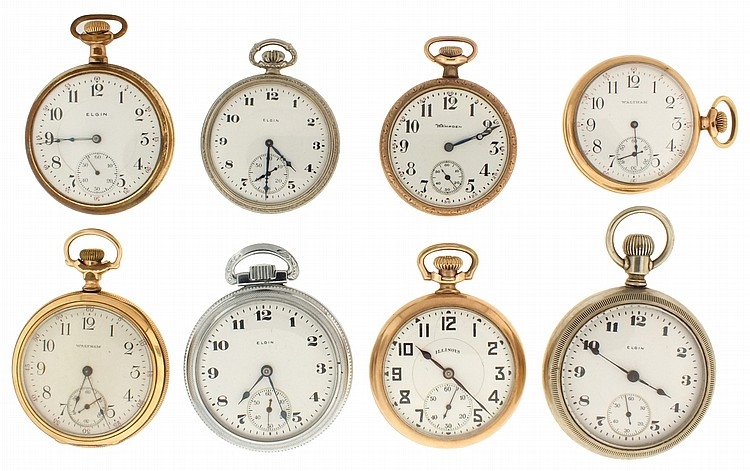 Pocket watches- 8 (Eight), makers including Illinois, Waltham, Elgin and Hampden, 18- 12 size, 7- 21 jewels, white enamel dials, gold filled and nickel open face cases