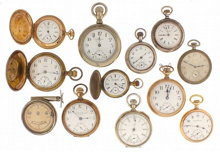 Pocket watches- 11 (Eleven), and an odometer, makers including New York Standard, Waterbury and Ingersoll- Trenton, 18- 6 size, 7- 15 jewels, metal and white enamel dials, sterling silver, nickel and gold filled cases