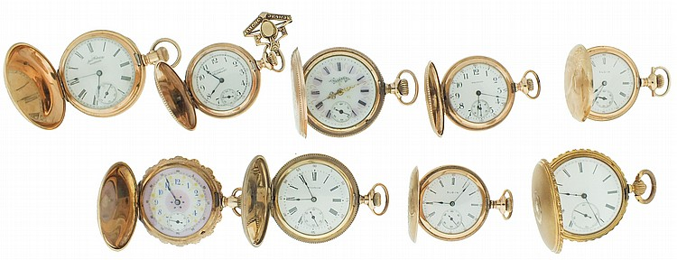Pocket watches- 10 (Ten). Mostly 6 and 0 size in gold filled hunting cases, makers include Elgin, Hampden, and Waltham, 7- 17 jewel movements, enamel dials, together with two Swiss cylinders and a 12 size Waltham movement