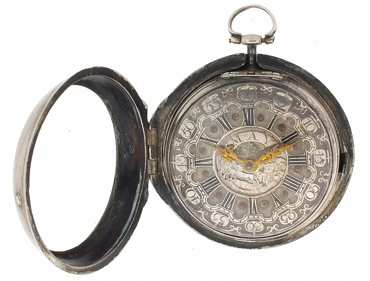 J. May, London, verge fusee pocket watch, key wind and set, gilt plate movement with Continental style balance bridge and square baluster pillars in a sterling silver, open face pair case with Roman and Arabic numeral silver champleve dial with
