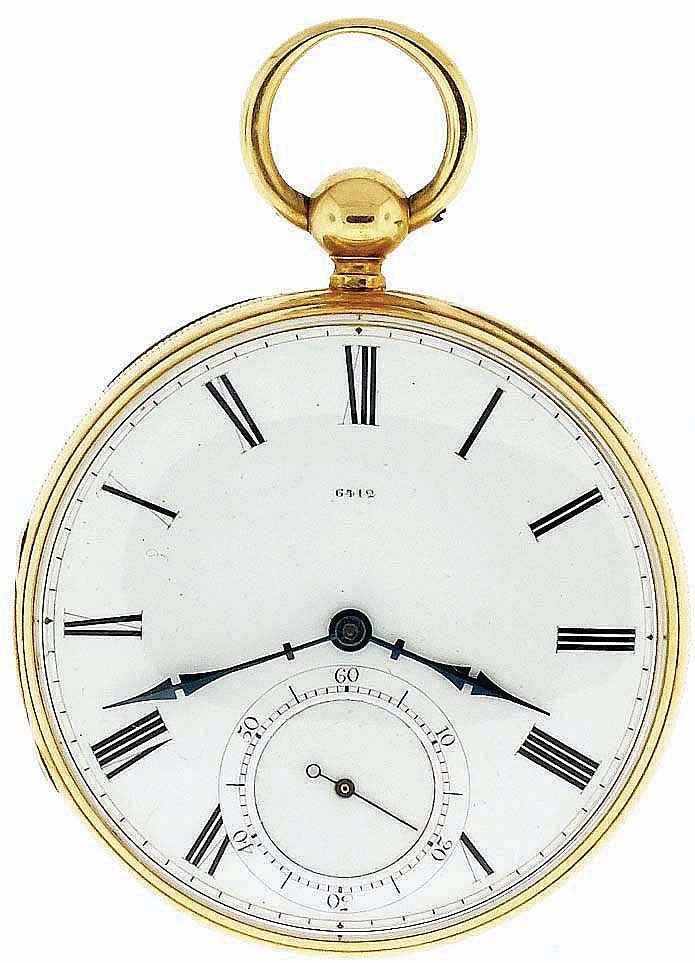 George E. Mylne, London, man's fusee pocket watch, 13 jewels, key wind and set gilt plate movement with lever escapement, and cut bimetallic balance with gold timing screws, in an 18 karat, yellow gold, reeded edge, engine turned and engraved