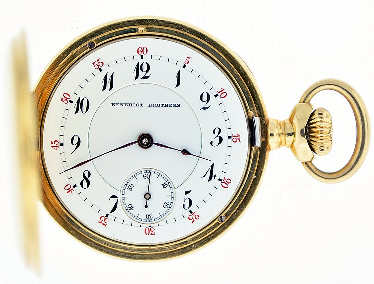 Switzerland, for Benedict Bros., New York, lady's pocket watch, 20 jewels, stem wind and set, cotes de Geneve decorated nickel bar movement marked
