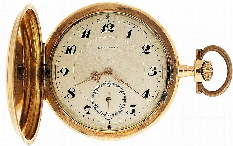 Longines, Switzerland, man's pocket watch, 16 jewels, stem wind, lever set gilt plate movement with lever escapement and cut bimetallic balance in a 14 karat, rose gold, engine turned and engraved hunting case and Arabic numeral, single sunk metal