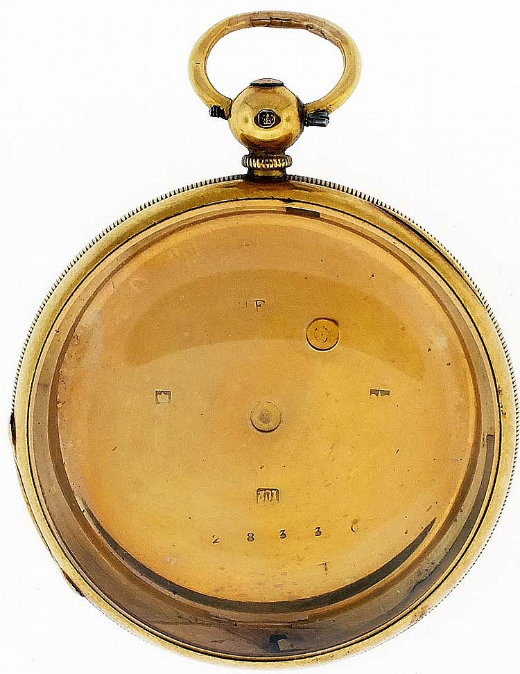 English watch case, 18 karat yellow gold, 48mm, 49.9g TW