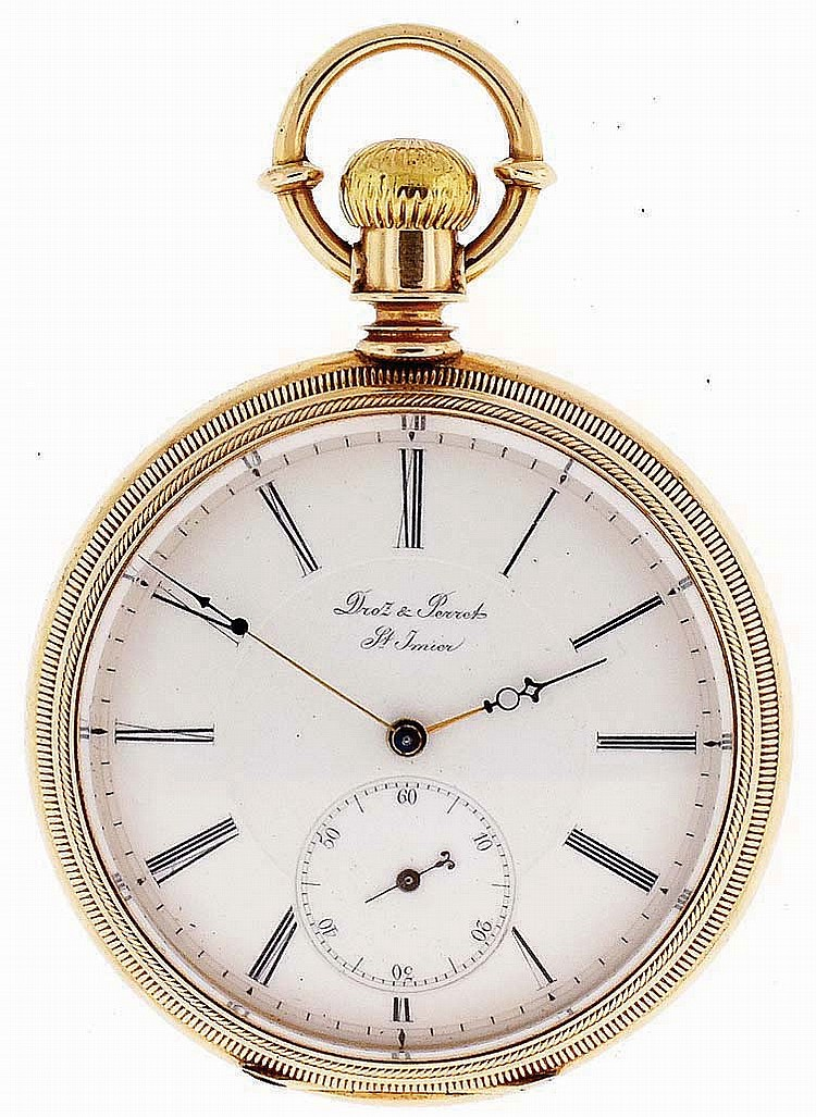 Droz & Perret, St. Imier, Switzerland, man's gold pocket watch, 16 jewels, stem wind and lever set, damascened nickel plate movement with lever escapement in a 14 karat, yellow gold, hinged back and bezel, reeded edge, engine turned and engraved open