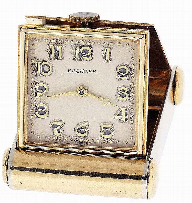 Kreisler, purse watch, 14 karat white and yellow gold folding case with monogram, Arabic numeral silvered dial, 15 jewel lever movement, 33.5g TW