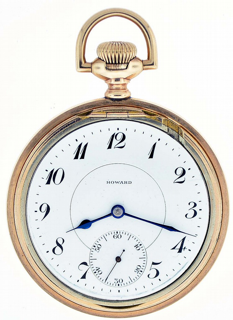 E. Howard Watch Co., (Keystone), Waltham, Mass., series 0, 16 size, 23 jewels, stem wind and lever set, adjusted to 5 positions, isochronism and temperature, straight line damascened nickel bar movement with lever escapement, cut bimetallic balance,