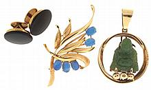 Gold items- 3 (Three), all 14 karat, the first a pendant with carved jade Buddha, the next a brooch set with five oval opals, and a pair of onyx cufflinks with gold backs, 24.4g TW