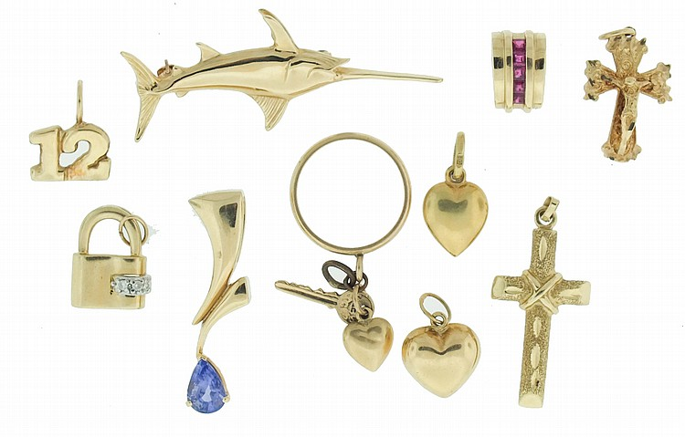 Pins, pendants and charms- 11 (Eleven), all 14 karat gold, including a swordfish form pin, together with a few findings, 24.8g TW