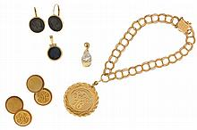 Gold items- 7 (Seven), all 14 karat, including cuff links, sweet 16 bracelet, earrings, and pendants, 25.5g TW