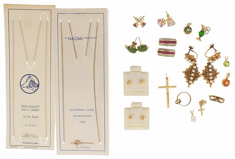 Gold items- 27 (Twenty seven), 10 and 14 karat gold, including seven pairs of earrings, five small pendants, a cross pendant, single earrings, and more, 14k, 26g TW, 10k, 7.8g TW