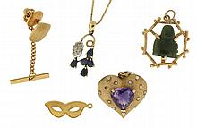 Gold items- 5 (Five), all 14 karat, including a necklace with pendant, set with faceted stones, 19